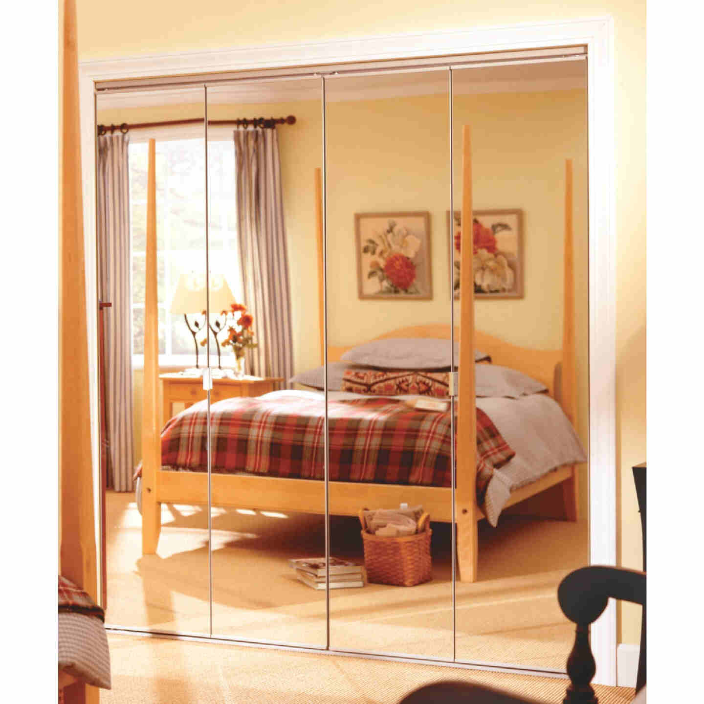 Erias Series 4900 30 In. W. x 80-1/2 In. H. Steel Frameless Mirrored White Bifold Door Image 1