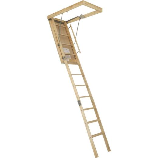 Louisville Premium 8 In. 9 Ft. to 10 Ft. 25-1/2 In. x 54 In. Wood Attic Stairs, 250 Lb. Load