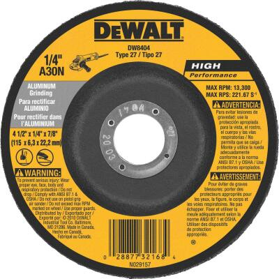 DeWalt HP Type 27 4-1/2 In. x 1/4 In. x 7/8 In. Aluminum Grinding Cut-Off Wheel