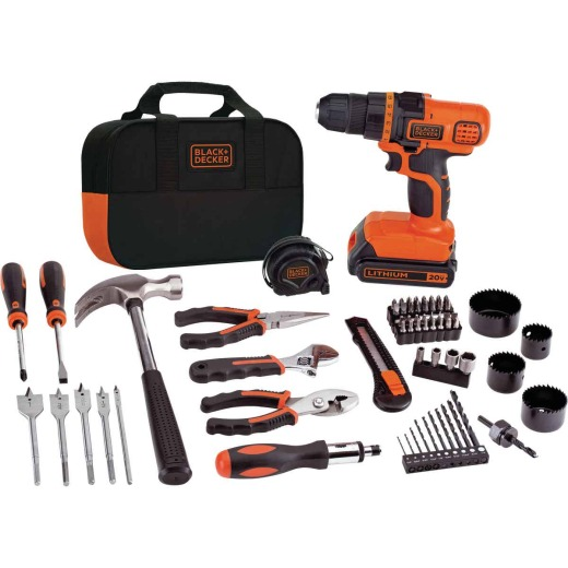 Black & Decker 20 Volt MAX Lithium-Ion 3/8 In. Cordless Drill Project Kit (68-Piece)