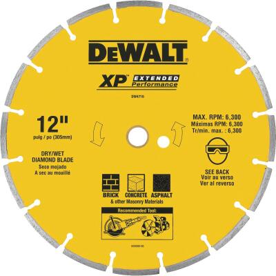 DeWalt Extended Performance 12 In. Segmented Rim Dry/Wet Cut Diamond Blade