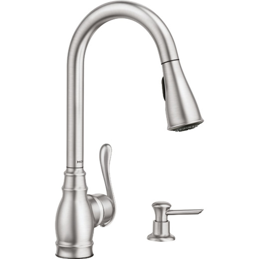 Moen Anabelle Single Handle Lever Pull-Down Kitchen Faucet with Soap Dispenser, Stainless