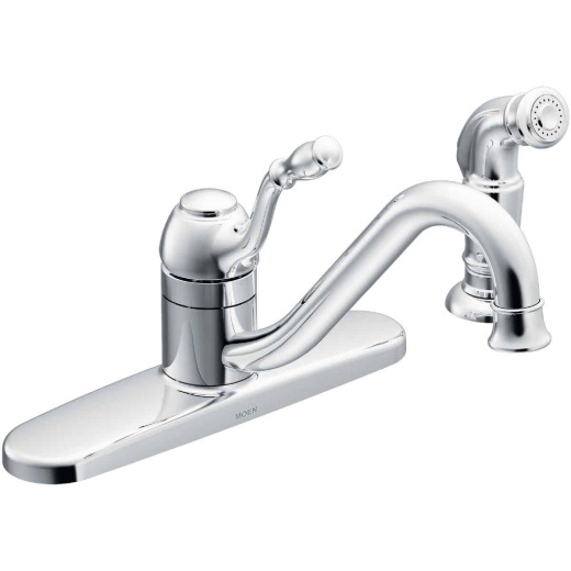 Moen Lindley Single Handle Lever Kitchen Faucet with Side Spray, Chrome
