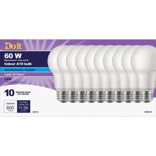 Do it 60W Equivalent Daylight A19 Medium LED Light Bulb, Title 20 (10-Pack)