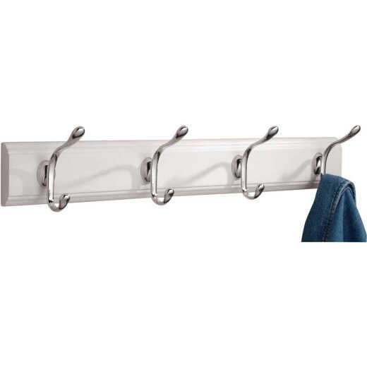 iDesign Paris White Wood 4-Hook Rack