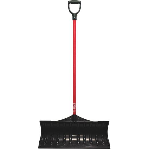 Bully Tools 27 In. Poly Snow Pusher with 46.5 In. Fiberglass Handle