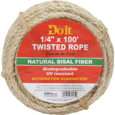 Do it 1/4 In. x 100 Ft. Natural Twisted Sisal Fiber Packaged Rope
