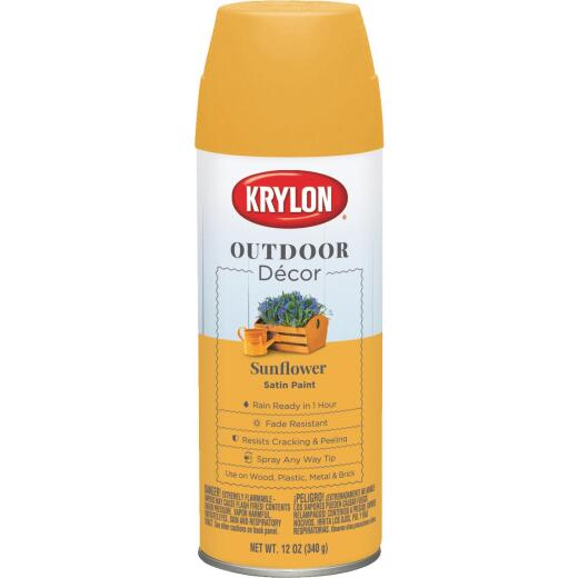 Krylon Outdoor Decor 12 Oz Satin Alkyd Spray Paint, Sunflower