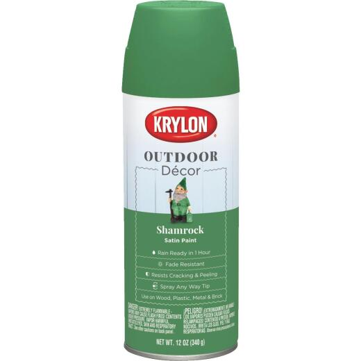 Krylon Outdoor Decor 12 Oz Satin Alkyd Spray Paint, Shamrock